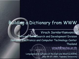 Building a Dictionary from WWW