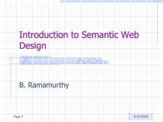 Introduction to Semantic Web Design