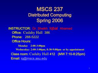 MSCS 237  Distributed Computing Spring 2006