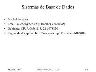 Sistemas de Base de Dados