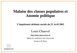 Malaise des classes populaires et Anomie politique L'inquiétante alchimie sociale du 21 Avril 2002