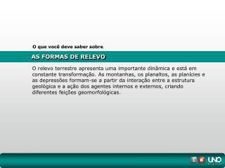 AS FORMAS DE RELEVO