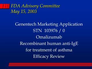 FDA Advisory Committee May 15, 2003