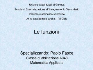 Università agli Studi di Genova Scuola di Specializzazione all'Insegnamento Secondario