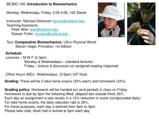 BE/BIO 105:  Introduction to Biomechanics Monday, Wednesday, Friday, 2:00-3:00, 102 Steele
