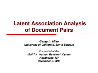 Latent Association Analysis  of Document Pairs