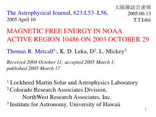 The Astrophysical Journal, 623:L53–L56 ,  2005 April 10 MAGNETIC FREE ENERGY IN NOAA