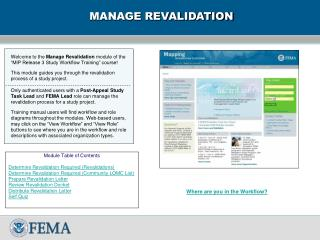 MANAGE REVALIDATION