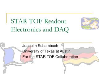 STAR TOF Readout Electronics and DAQ