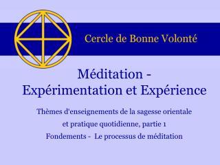 Méditation - Expérimentation et Expérience