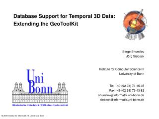 Database Support for Temporal 3D Data: Extending the GeoToolKit