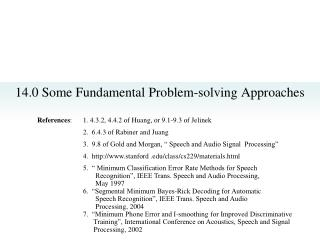 14.0 Some Fundamental Problem-solving Approaches