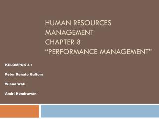 "Human Resources Management Chapter 8 ""Performance Management"""