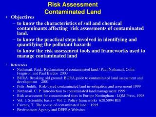 Risk Assessment   Contaminated Land