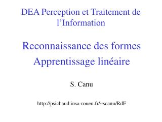 DEA Perception et Traitement de l'Information