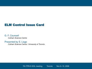 ELM Control Issue Card