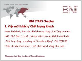 BNI STARS Chapter 1. Việc mời khách/ Chất lượng khách