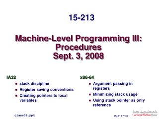 Machine-Level Programming III: Procedures Sept. 3, 2008