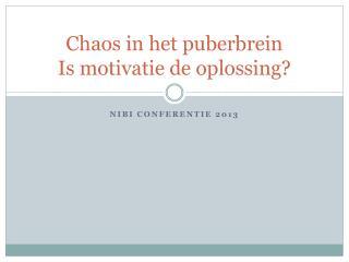 Chaos in het puberbrein Is motivatie de oplossing?