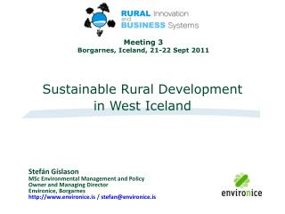 Sustainable Rural Development  in West Iceland