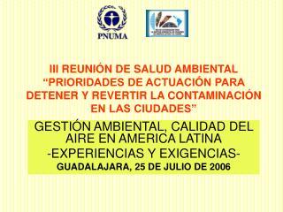 III REUNI N DE SALUD AMBIENTAL  PRIORIDADES DE ACTUACI N PARA DETENER Y REVERTIR LA CONTAMINACI N EN LAS CIUDADES