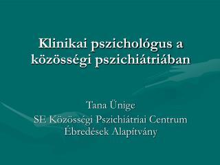 Klinikai pszichol�gus a k�z�ss�gi pszichi�tri�ban Tana �nige