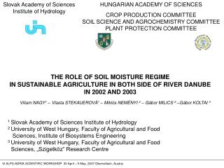 HUNGARIAN ACADEMY OF SCIENCES CROP PRODUCTION COMMITTEE SOIL SCIENCE AND AGROCHEMISTRY COMMITTEE