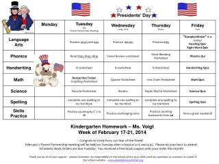 Kindergarten Homework – Ms. Voigt Week of February 17-21, 2014