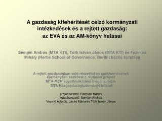 A rejtett gazdaságban való részvétel és csökkentésének kormányzati eszközei c. kutatási projekt