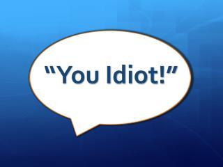 """""""You Idiot!"""""""