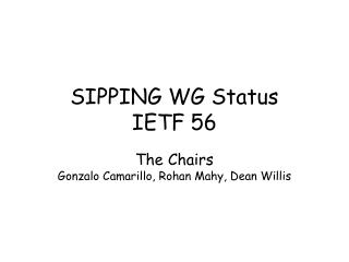 SIPPING WG Status IETF 56