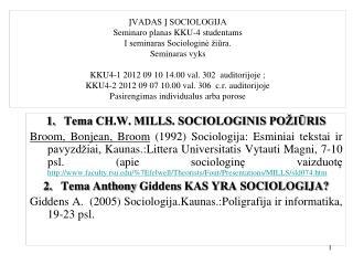 Tema CH.W. MILLS. SOCIOLOGINIS POŽIŪRIS