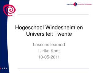 Hogeschool  Windesheim  en Universiteit Twente