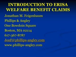 INTRODUCTION TO ERISA WELFARE BENEFIT CLAIMS