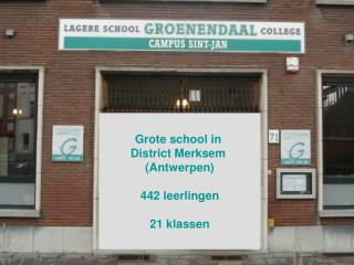 Grote school in  District Merksem  (Antwerpen) 442 leerlingen 21 klassen