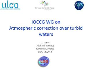IOCCG WG on Atmospheric correction over turbid waters