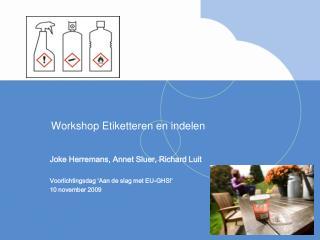 Workshop Etiketteren en indelen