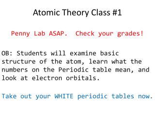 Atomic Theory Class #1