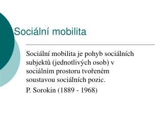 Soci�ln� mobilita