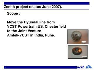 Zenith project (status June 2007).