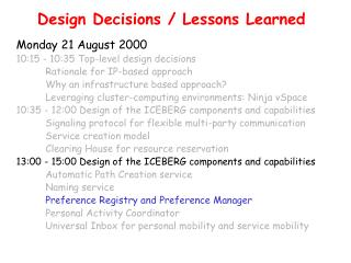 Design Decisions / Lessons Learned
