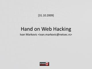 Hand on Web Hacking