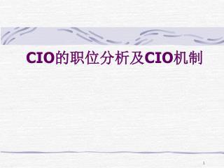 CIO 的职位分析及 CIO 机制