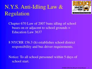 N.Y.S. Anti-Idling Law  Regulation