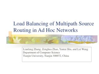 Load Balancing of Multipath Source Routing in Ad Hoc Networks
