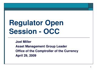 Regulator Open Session - OCC