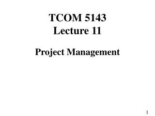 TCOM 5143 Lecture 11