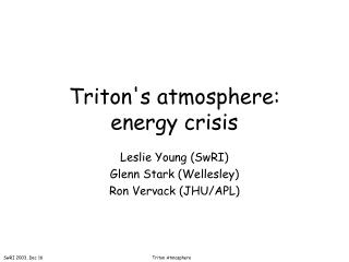 Triton's atmosphere:  energy crisis