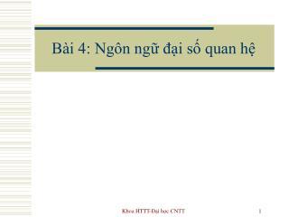 Bài 4: Ngôn ngữ đại số quan hệ