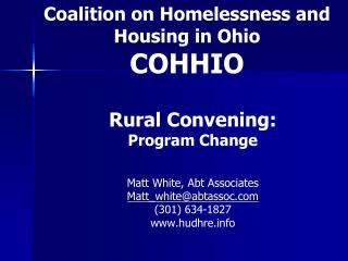 Coalition on Homelessness and Housing in Ohio COHHIO